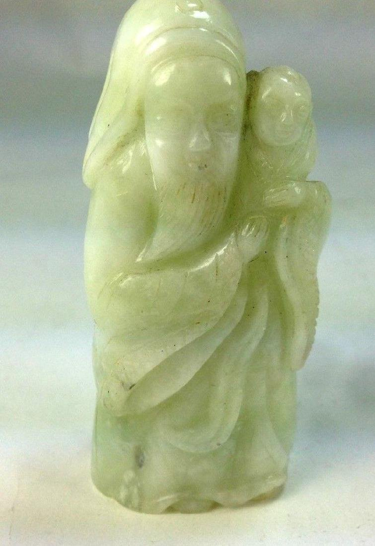 "ANTIQUE CHINESE ""GOD OF FORTUNE"" JADE JADEITE FIGURINE"