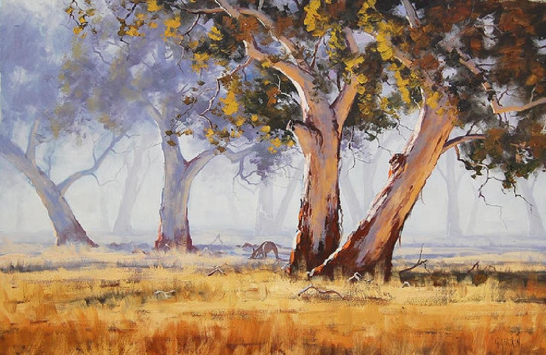 Kangaroo Grazing Oil Painting