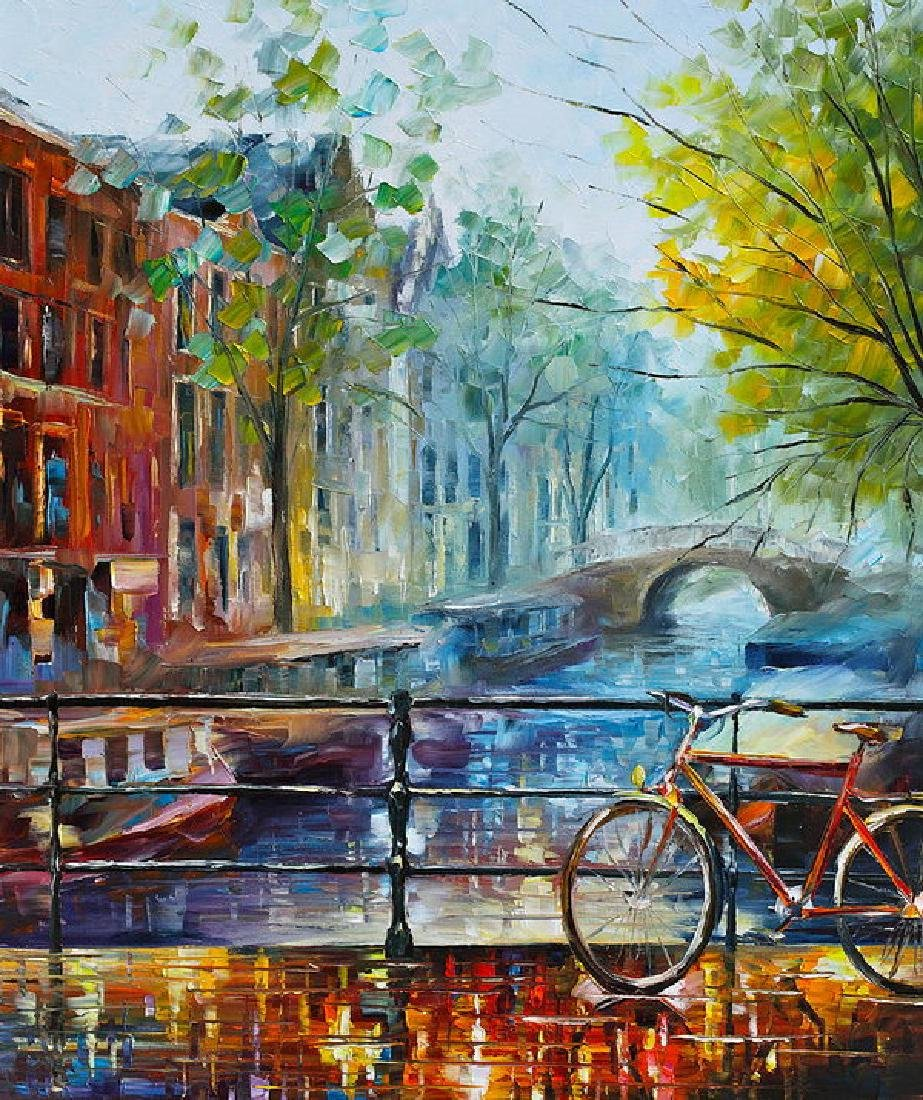 Bicycle In Amsterdam Oil Painting