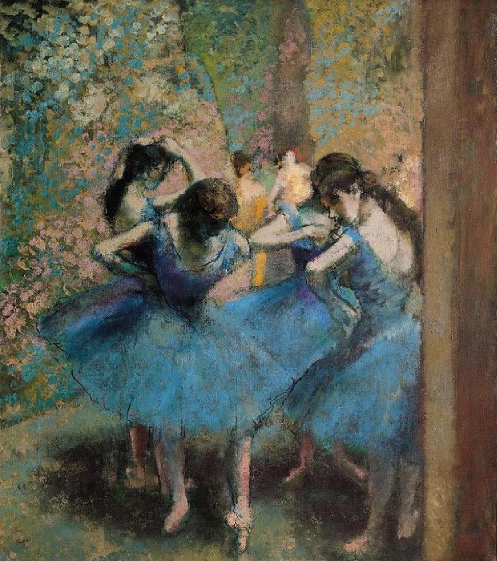 Dancers In Blue Oil Painting