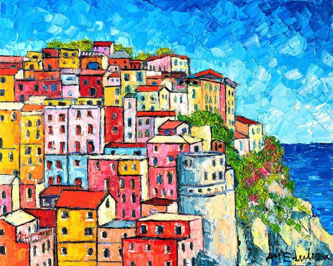 Cinque Terre Italy Manarola Colorful Houses Oil