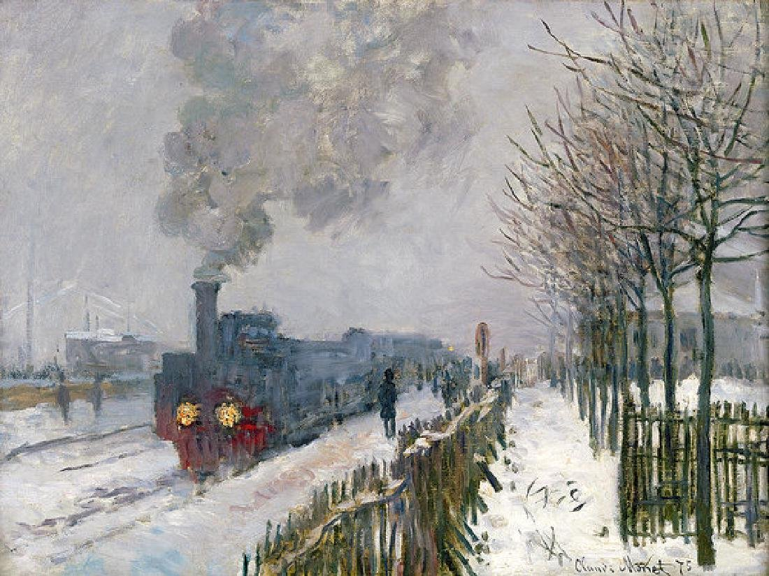 Train In The Snow Or The Locomotive Oil Painting