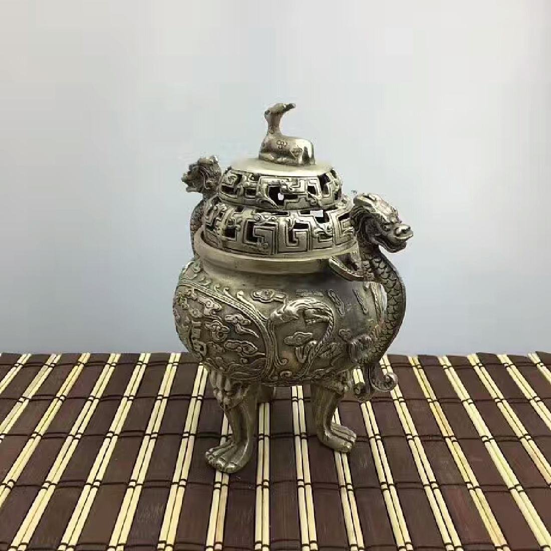 Chinese Antique Copper-Nickel Incense Burner