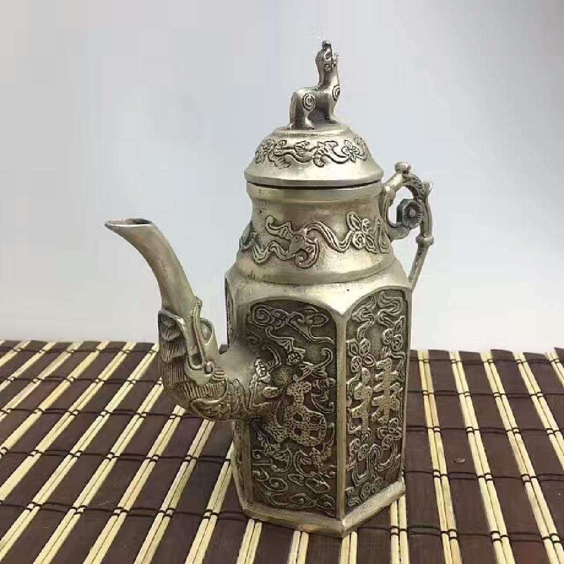 Chinese Antique Copper-Nickel Hexagonal Tea Pot
