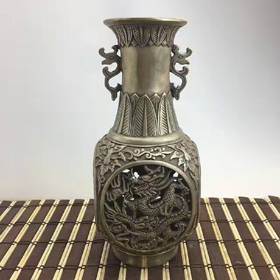 Chinese Antique Copper-Nickel Vase Carved With Dragon &
