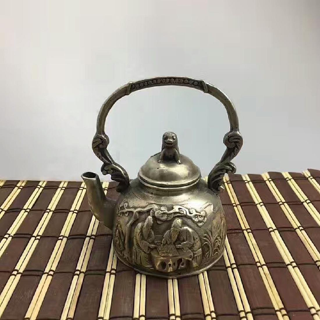 Chinese Antique Copper-Nickel Wine Pot With Loop Handle
