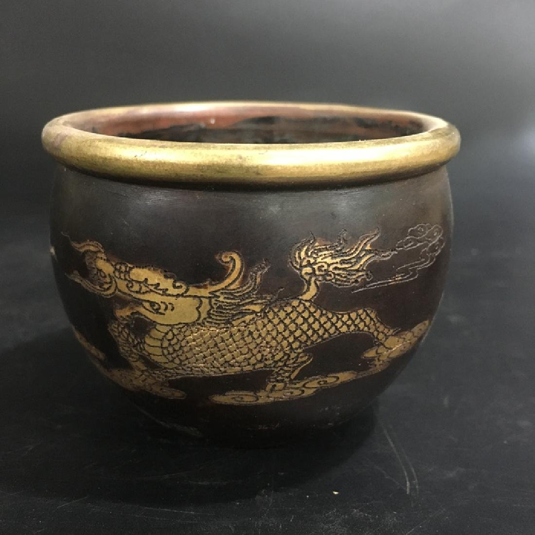 Chinese Antique Gilt Basin With Dragon Decoration