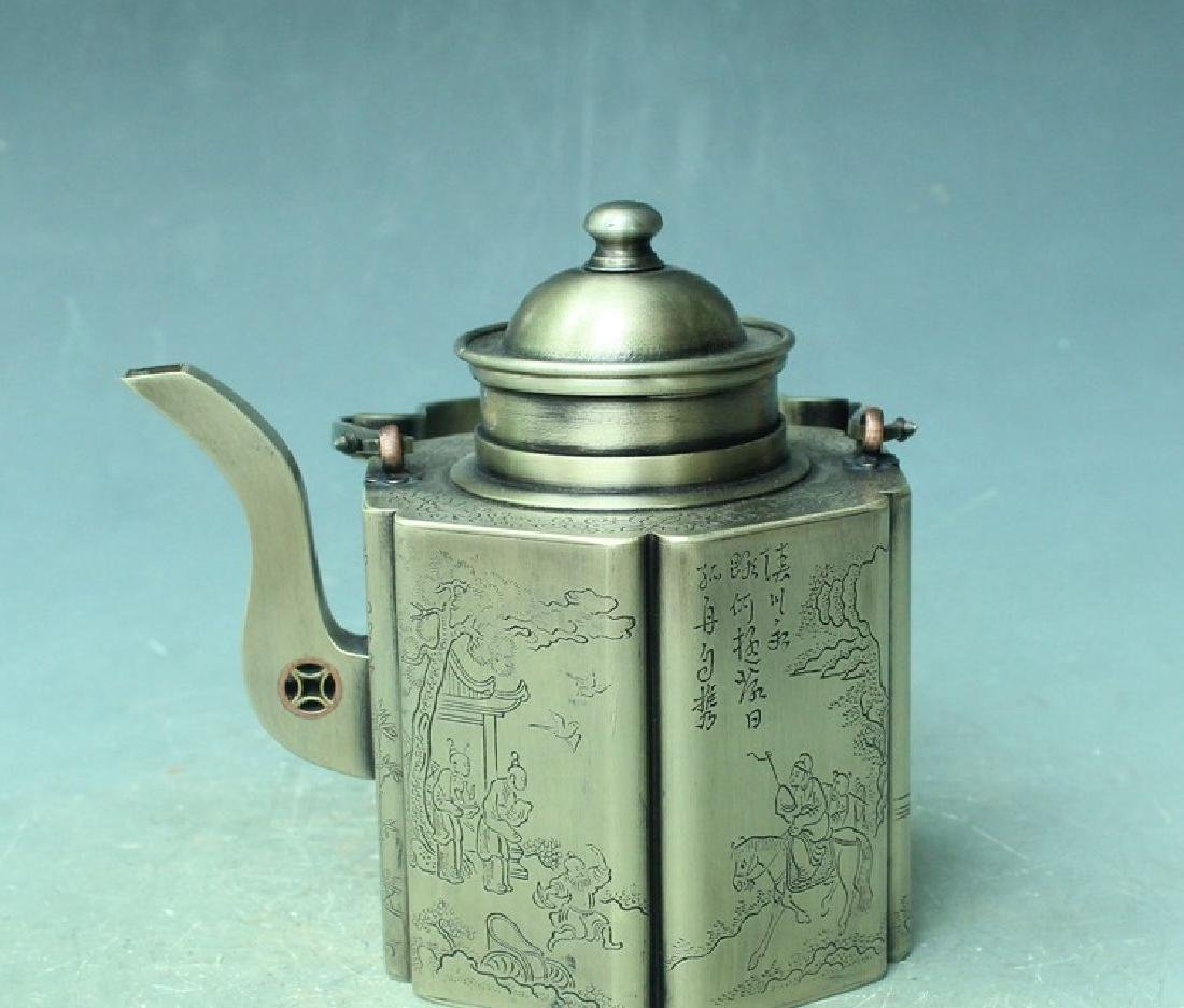 Chinese Antique Copper-Nickel Hexagonal Tea Pot With