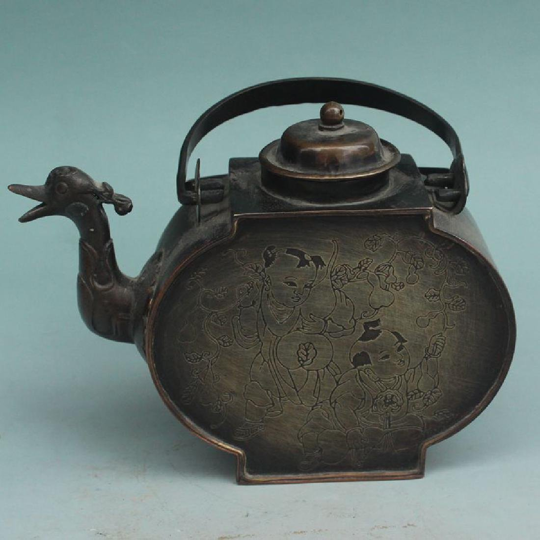 Chinese Xuande Time Copper Tea Pot With Loop Handle