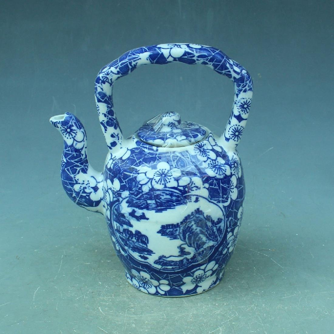 Chinese Antique Blue & White Glaze Porcelain Tea Pot