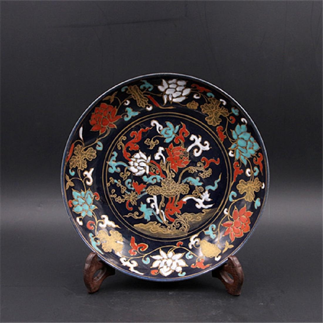 Chinese Qing Dynasty Blue Ground Porcelain Plate