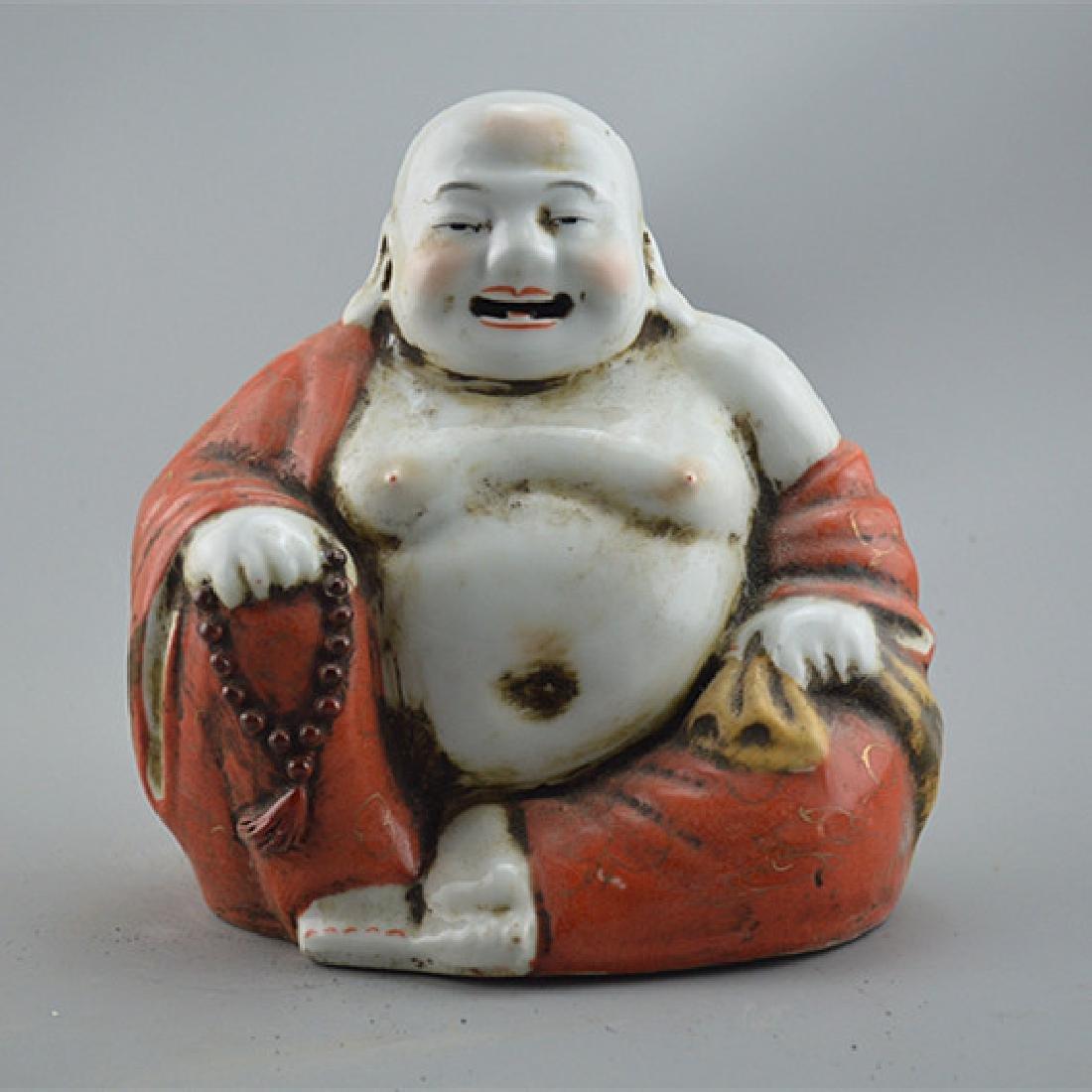Chinese Republic Of China Porcelain Buddha Statue