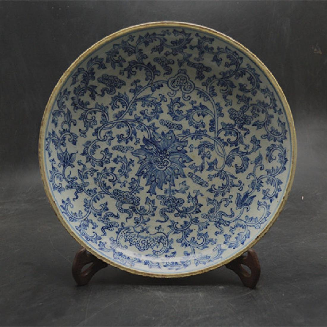 Chinese Qing Dynasty Blue & White Glaze Porcelain Plate