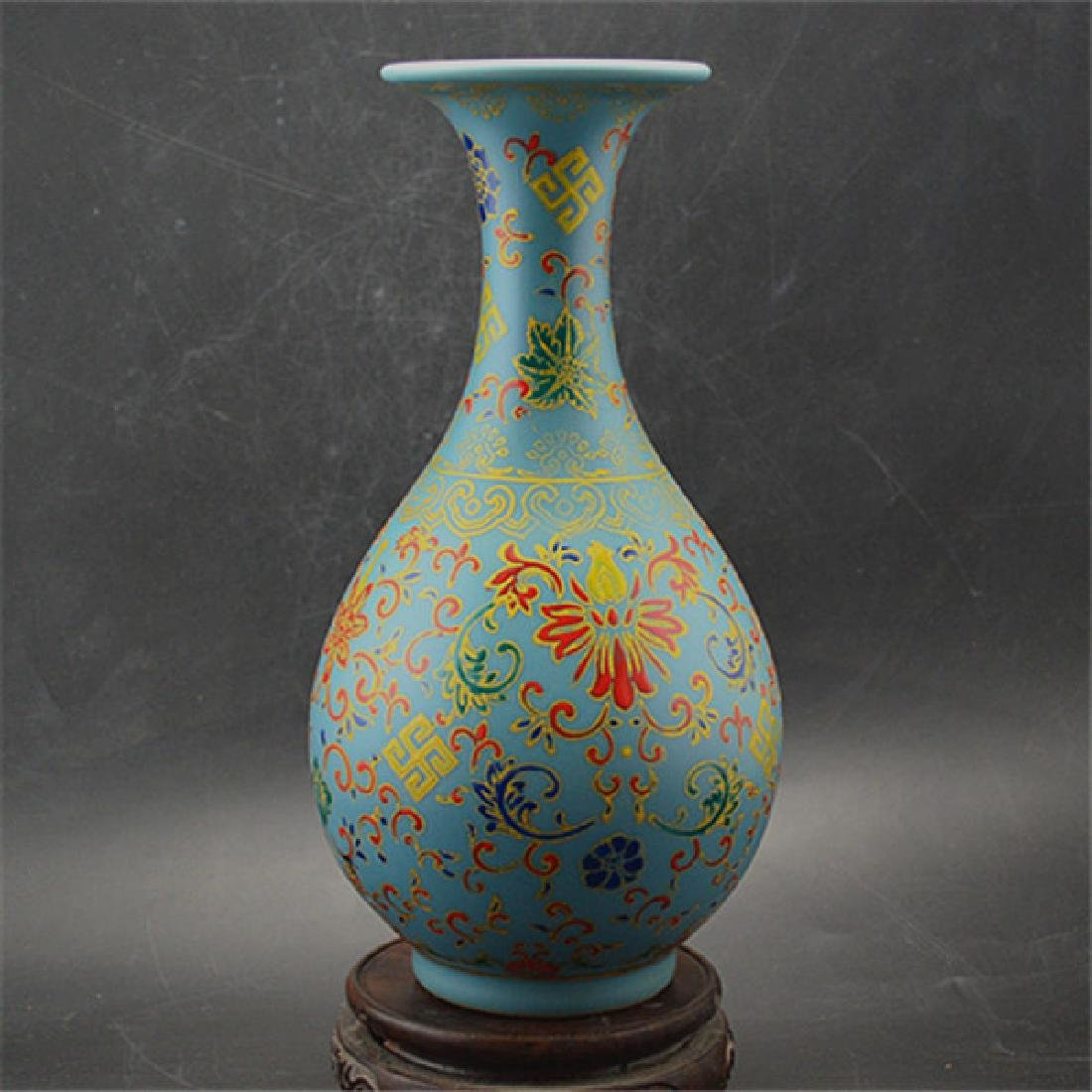 Chinese Qing Dynasty Yongzheng Time Blue Glaze Enamel