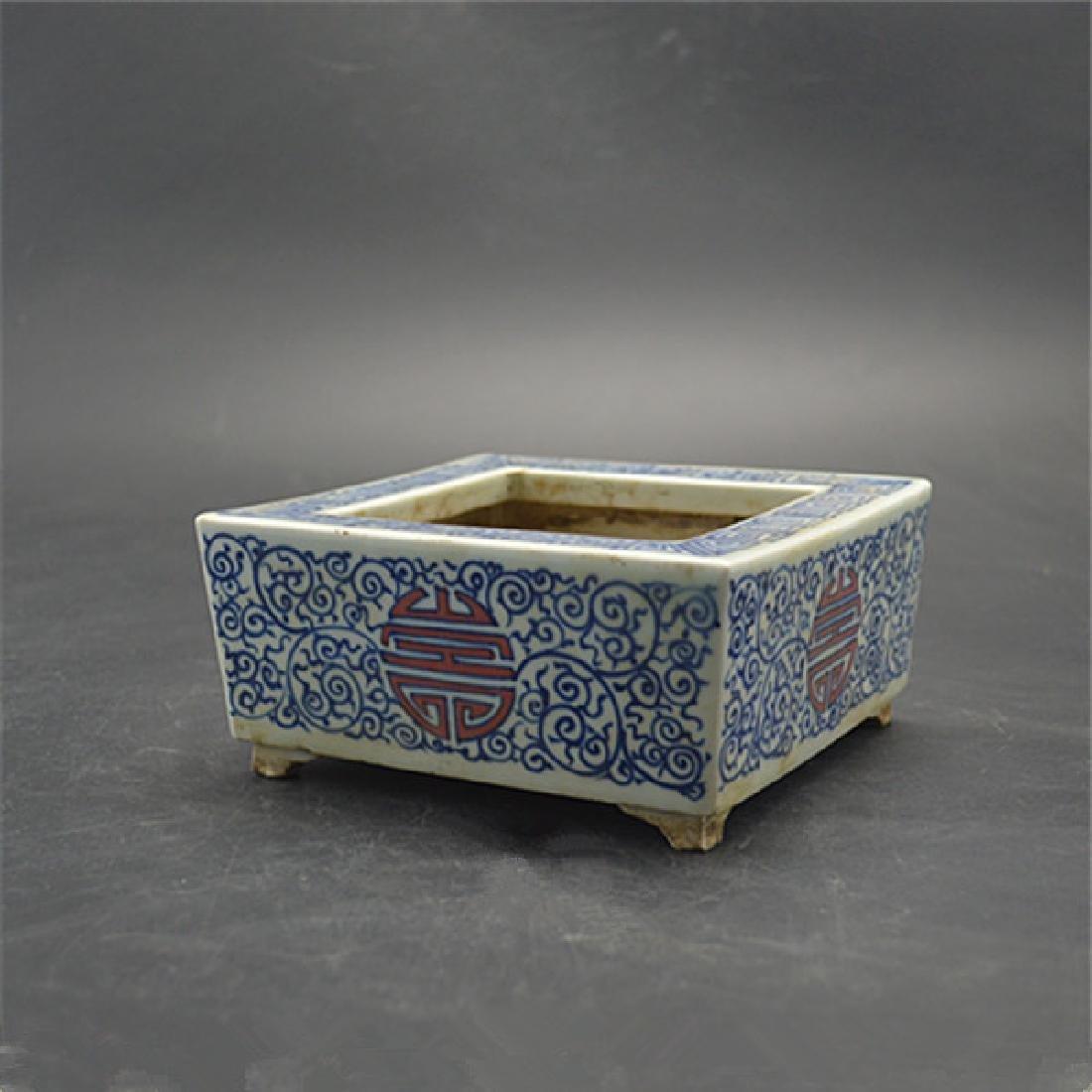 Chinese Qing Dynasty Blue & White Underglazed Red