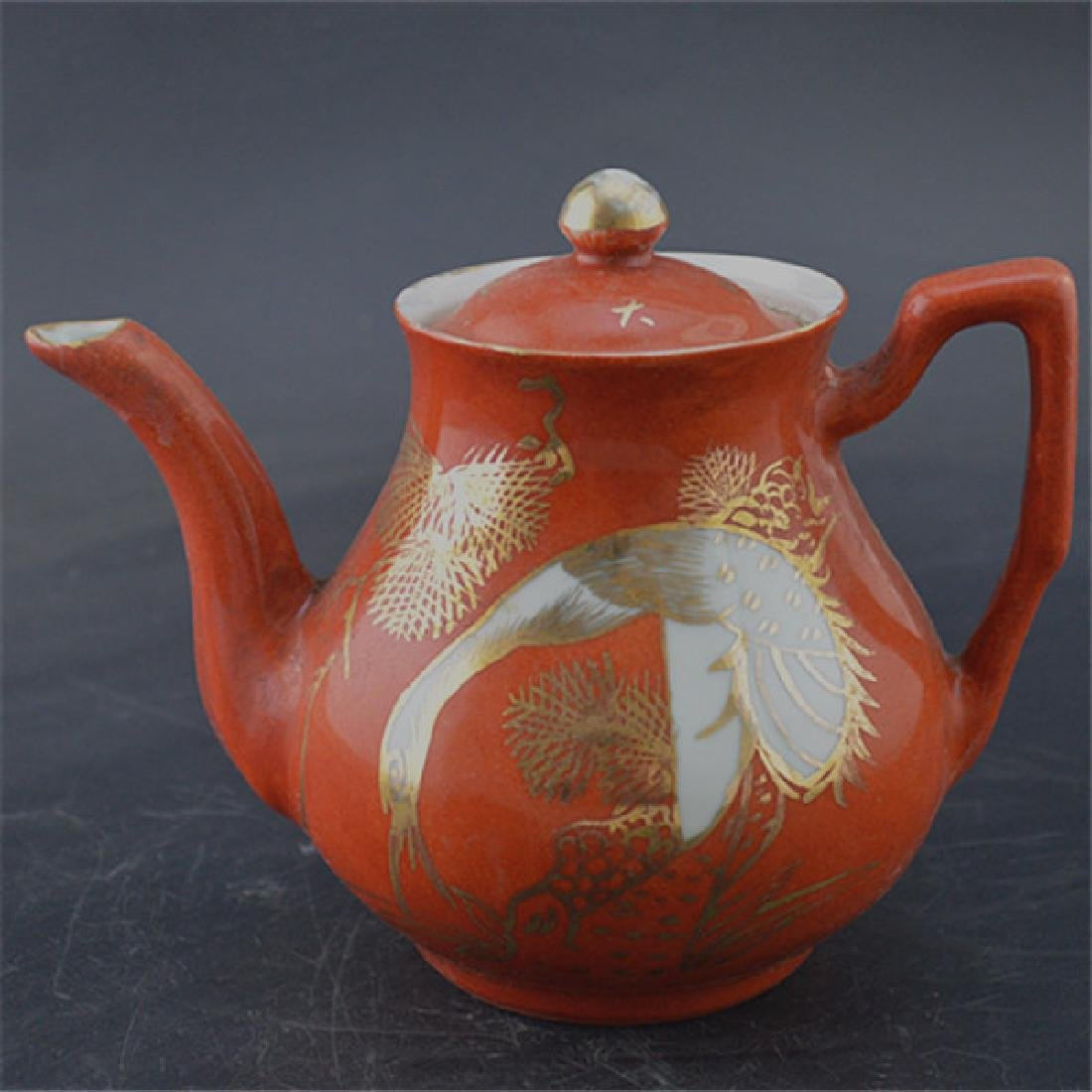 Chinese Republic Of China Red Glaze Porcelain Tea Pot