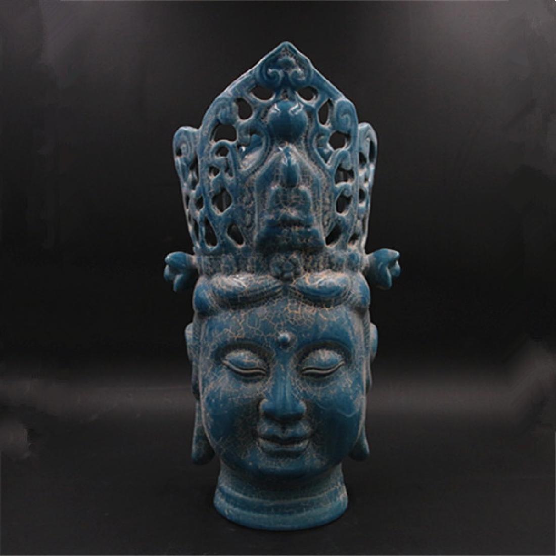 Chinese Zhou Dynasty Chai Ware Porcelain Buddha Statue