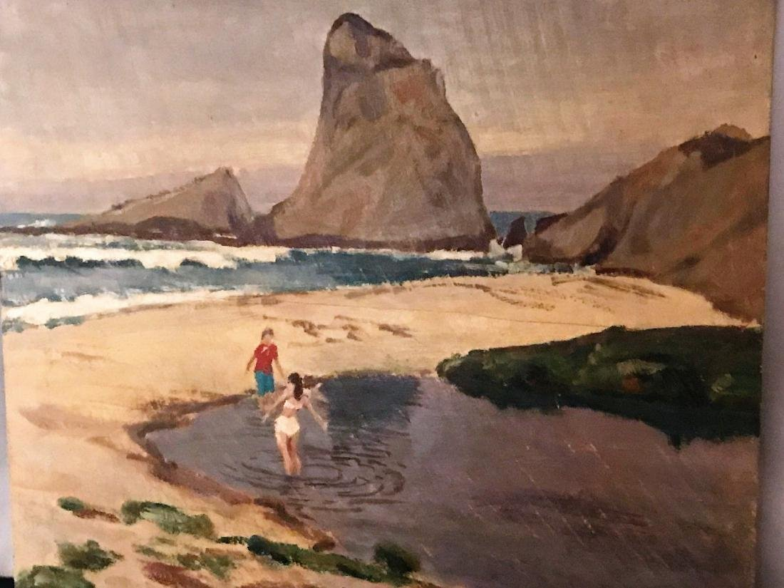 Painting By Justin Faivre Early Calif. Art Oil / Board - 2