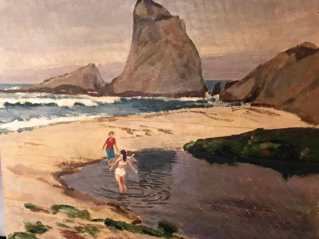 Painting By Justin Faivre Early Calif. Art Oil / Board - 3