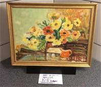 1920's /30's FLOWERS IN VASE 16â€x12†Signed By