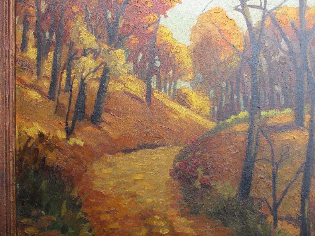 NICE Signed Antique Vintage Oil on Board Landscape - 5