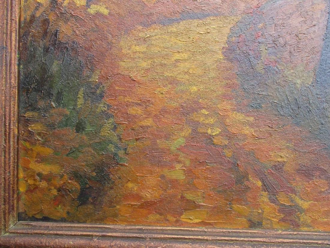 NICE Signed Antique Vintage Oil on Board Landscape - 6