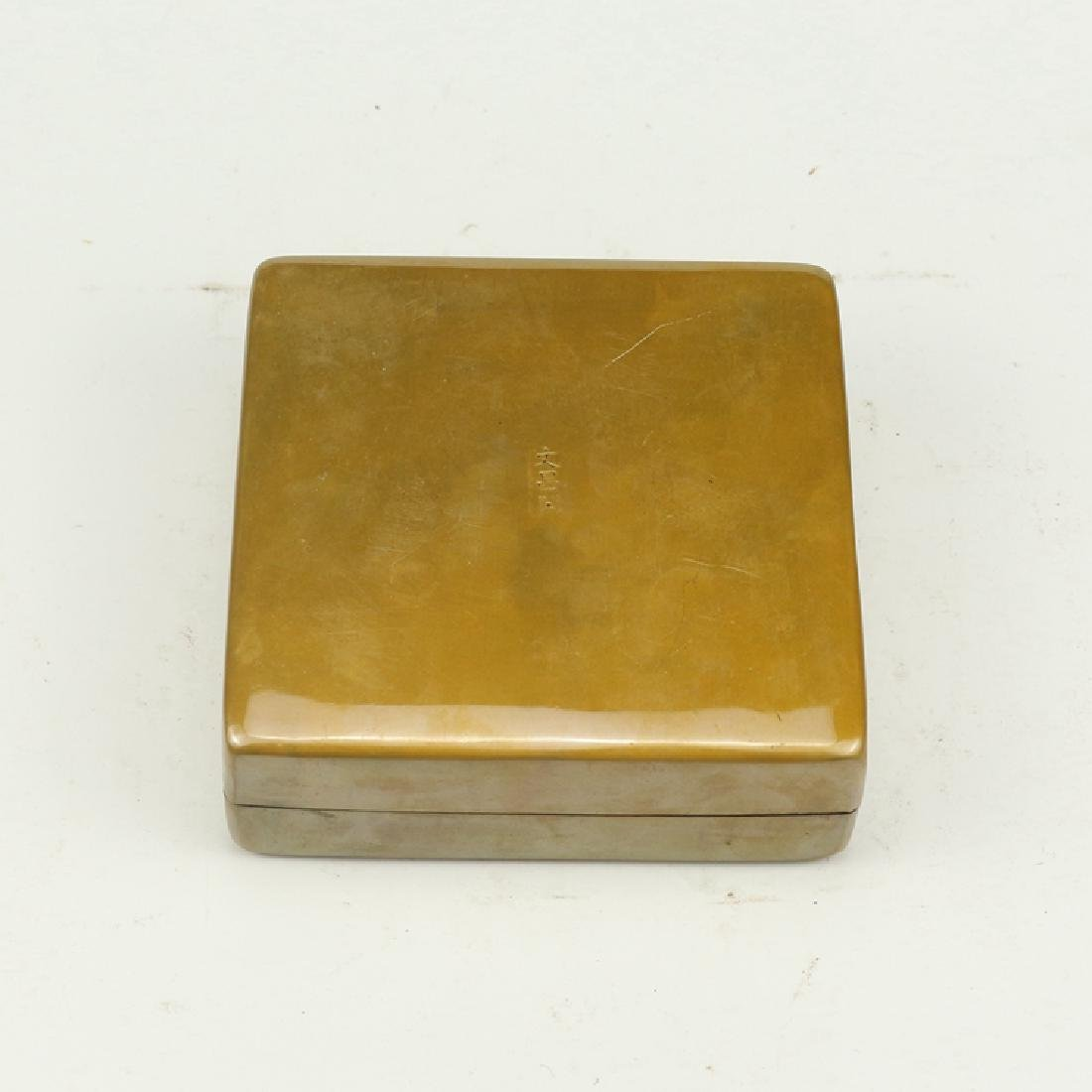 Chinese Antique Brass Ink Box - 5