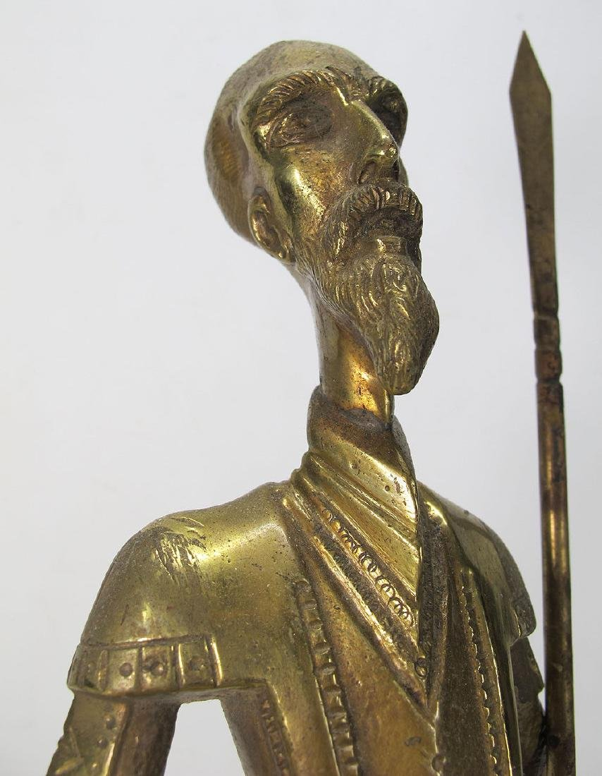 Vintage Don Quixote de La Mancha Brass/Bronze Sculpture - 6