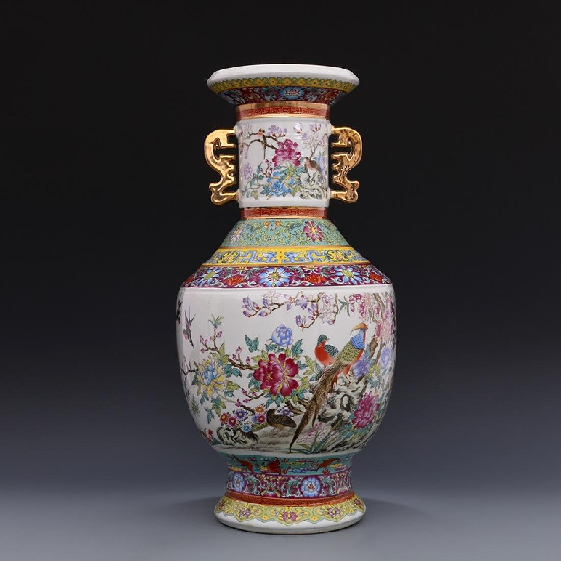 Chinese Qianlong Time Colorful Enamel Porcelain Vase
