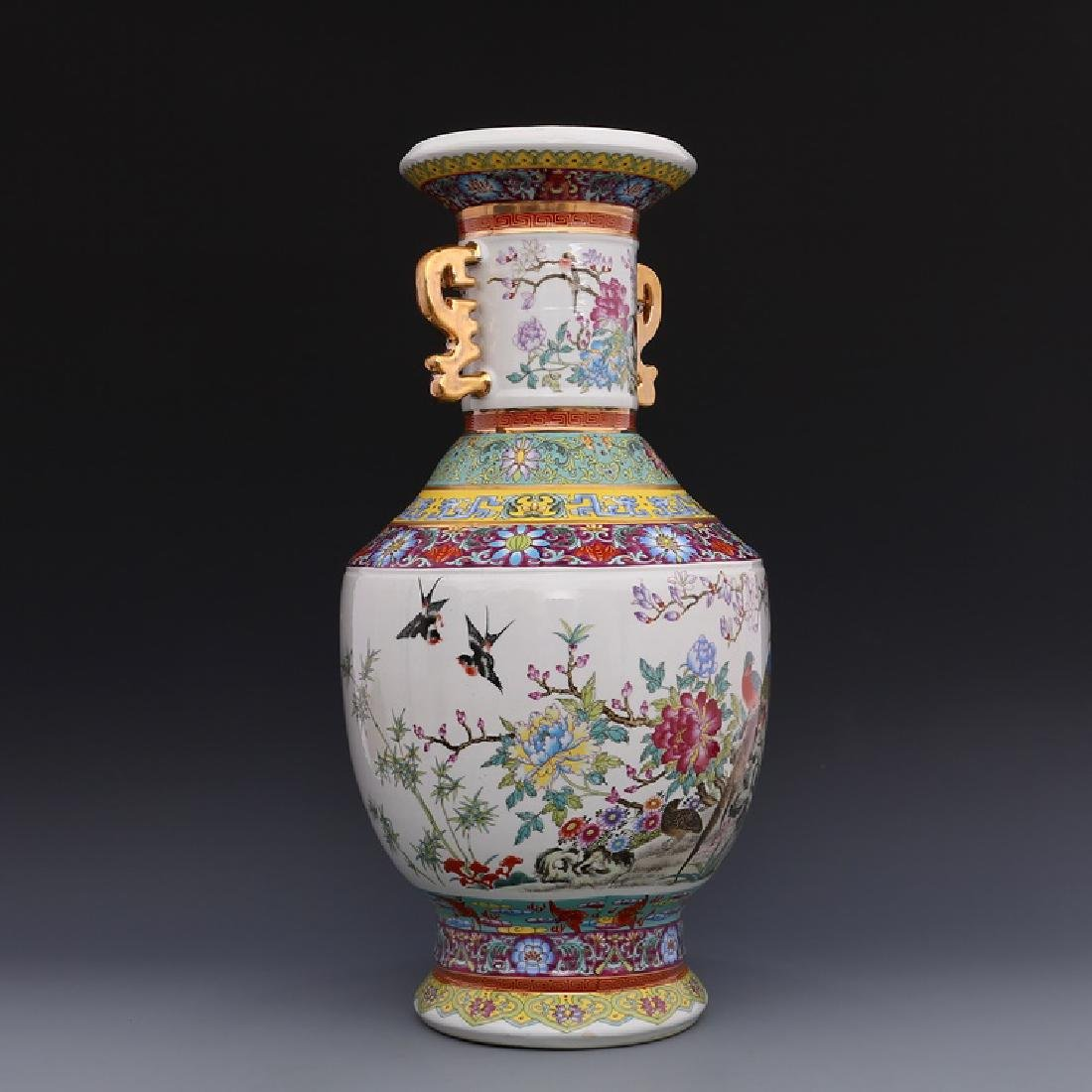 Chinese Qianlong Time Colorful Enamel Porcelain Vase - 2