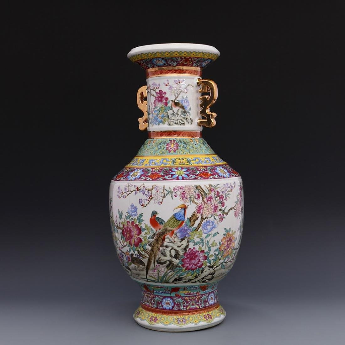 Chinese Qianlong Time Colorful Enamel Porcelain Vase - 3