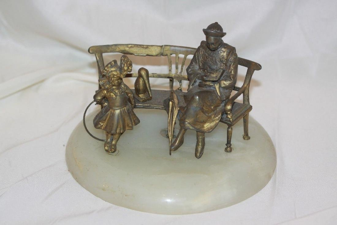 Antique Spelter Sculpture Woman Child & Bench Statue on
