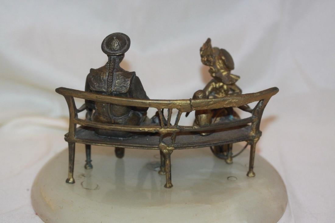 Antique Spelter Sculpture Woman Child & Bench Statue on - 4