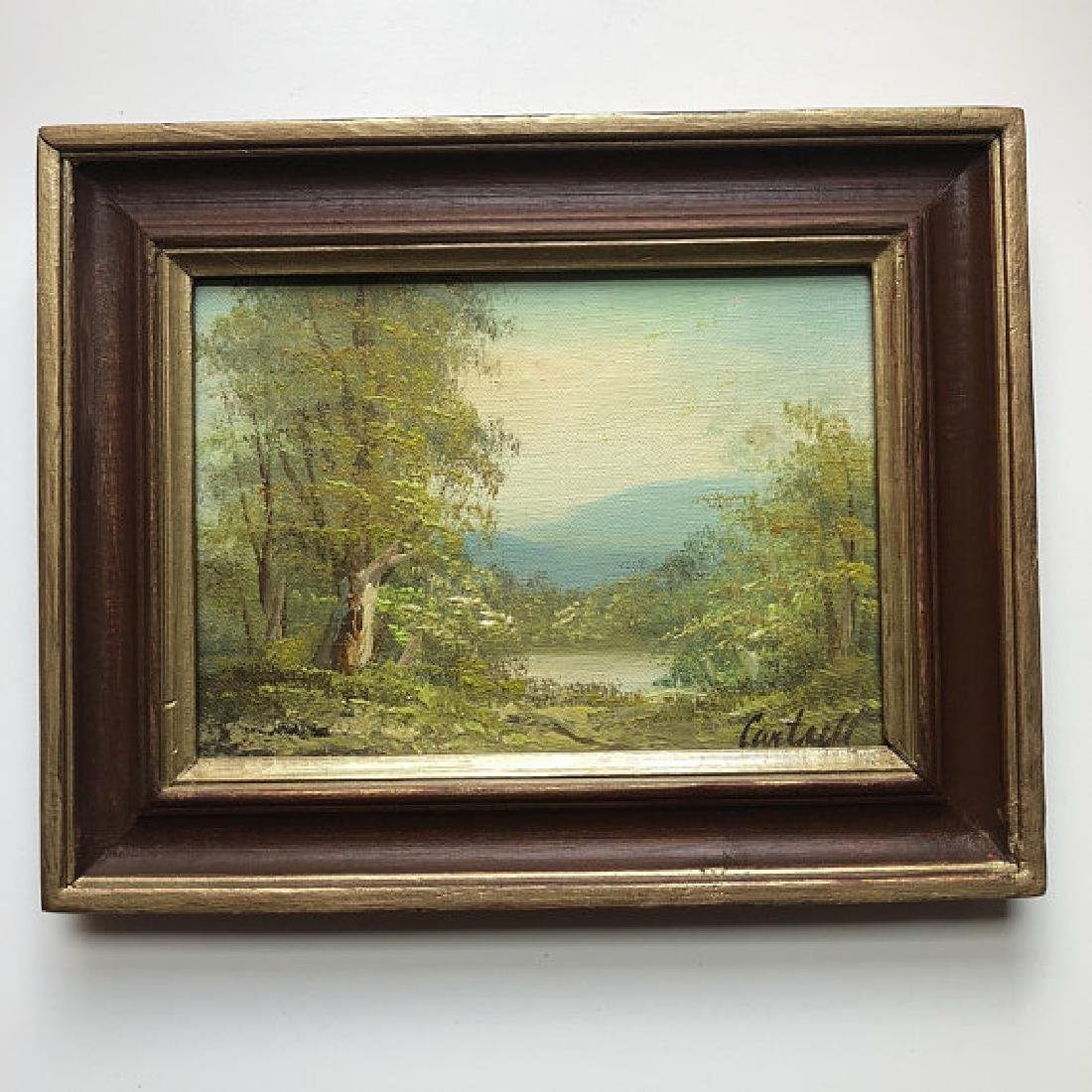 Small Vintage Landscape Painting, Signed Cantrell |