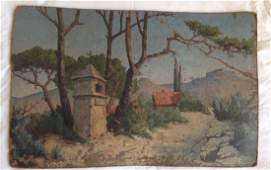 Huge French oil painting on particle board landscape