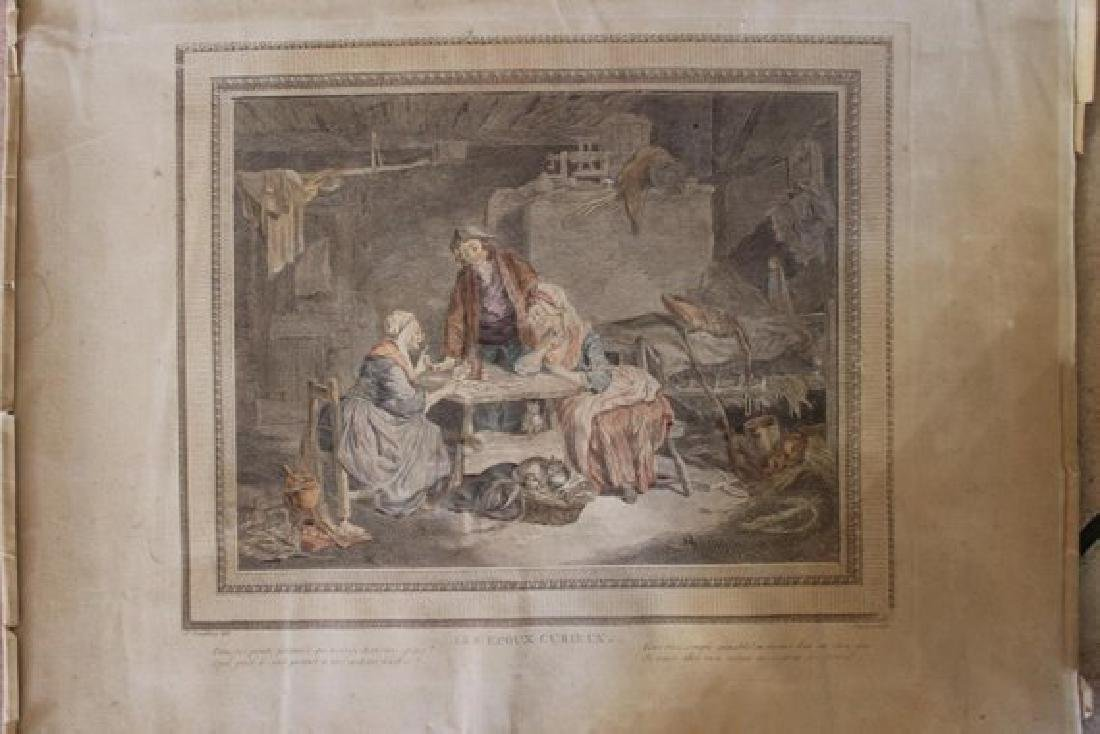 Antique French Aqua tint Engraving Print colored by