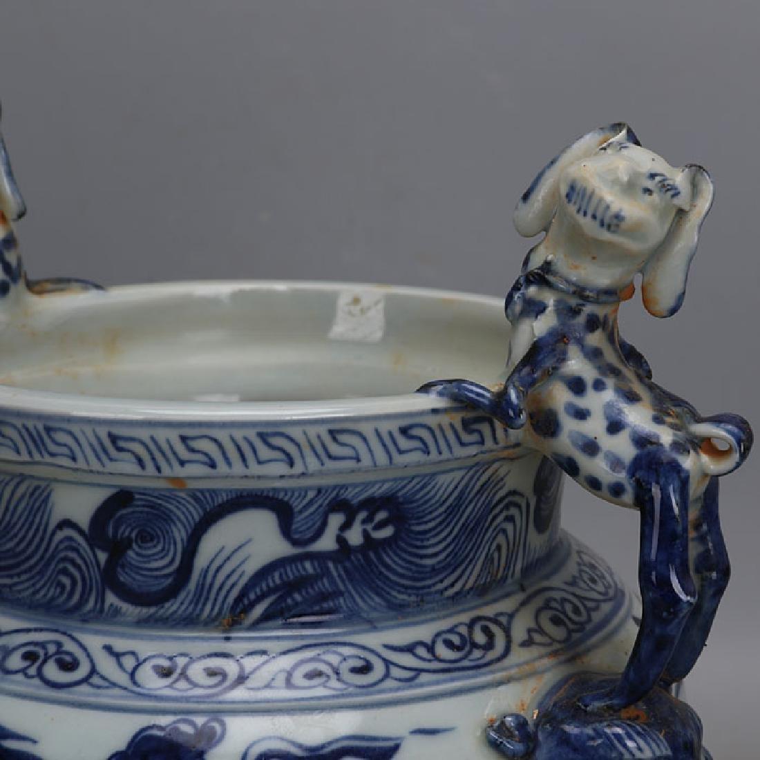Chinese Yuan Dynasty Blue & White Glazed Porcelain - 4