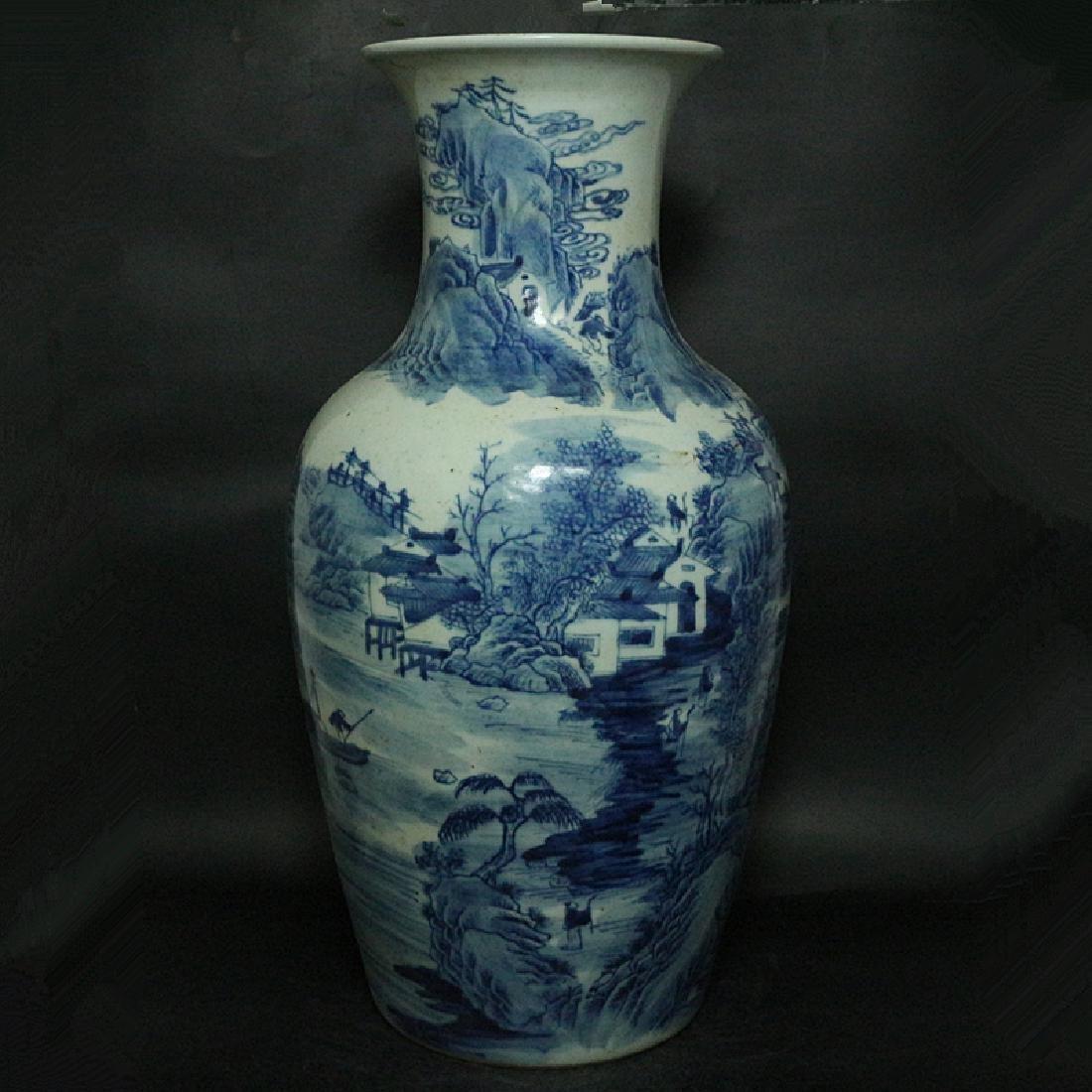Chinese Qing Dynasty Blue & White Glazed Porcelain Vase