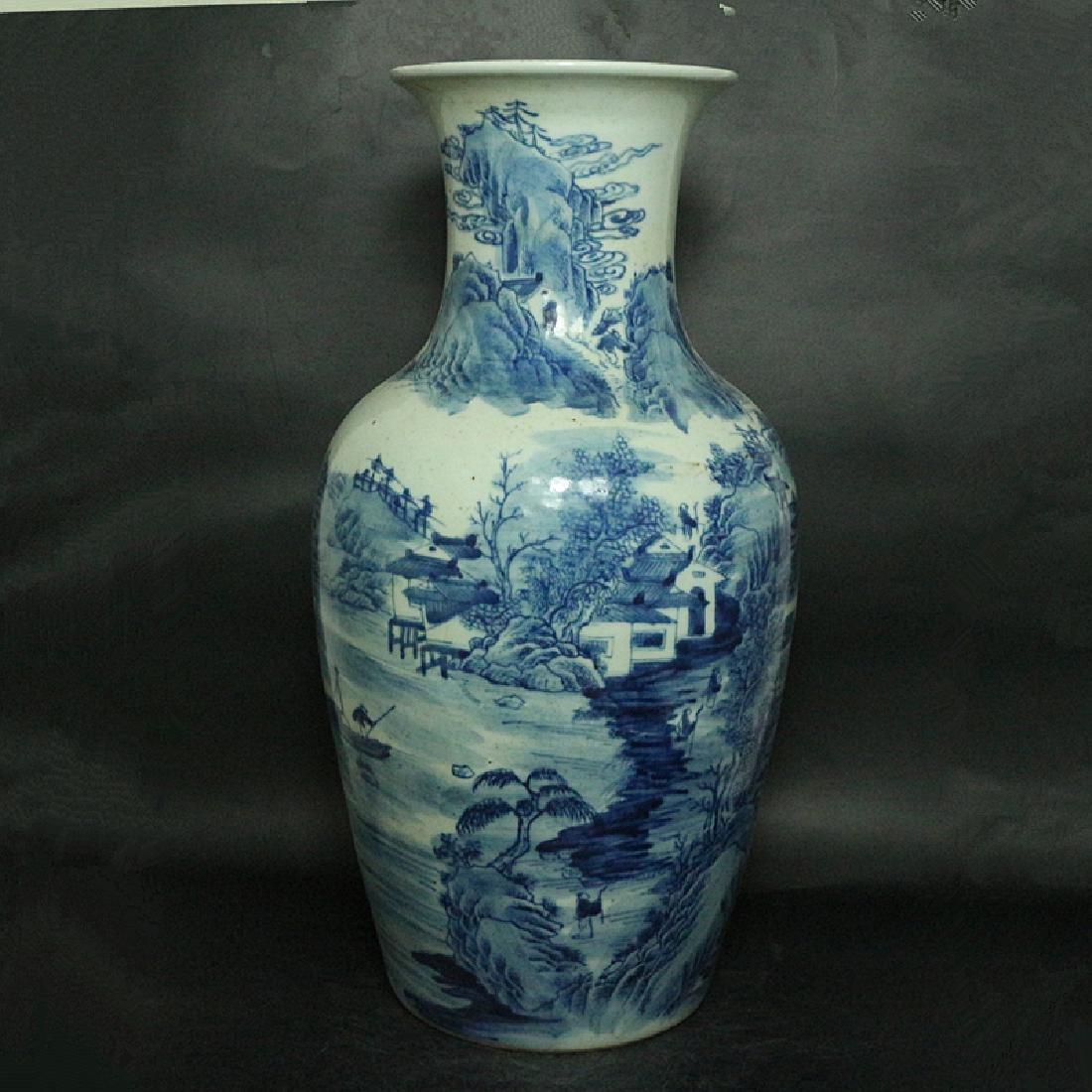Chinese Qing Dynasty Blue & White Glazed Porcelain Vase - 2