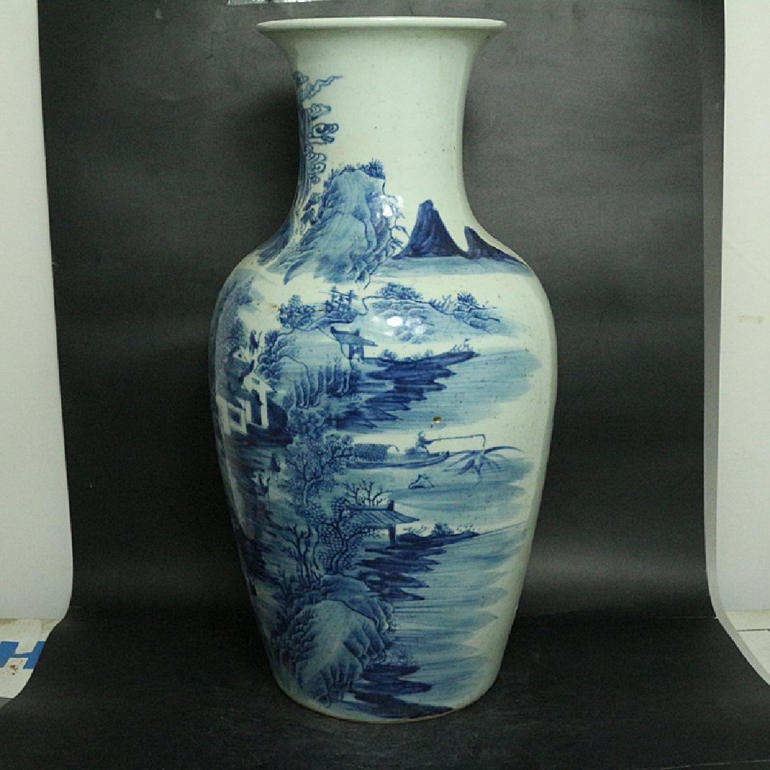 Chinese Qing Dynasty Blue & White Glazed Porcelain Vase - 3