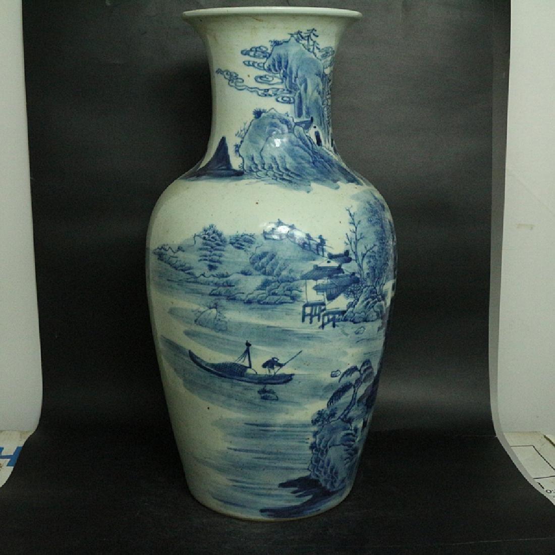 Chinese Qing Dynasty Blue & White Glazed Porcelain Vase - 4