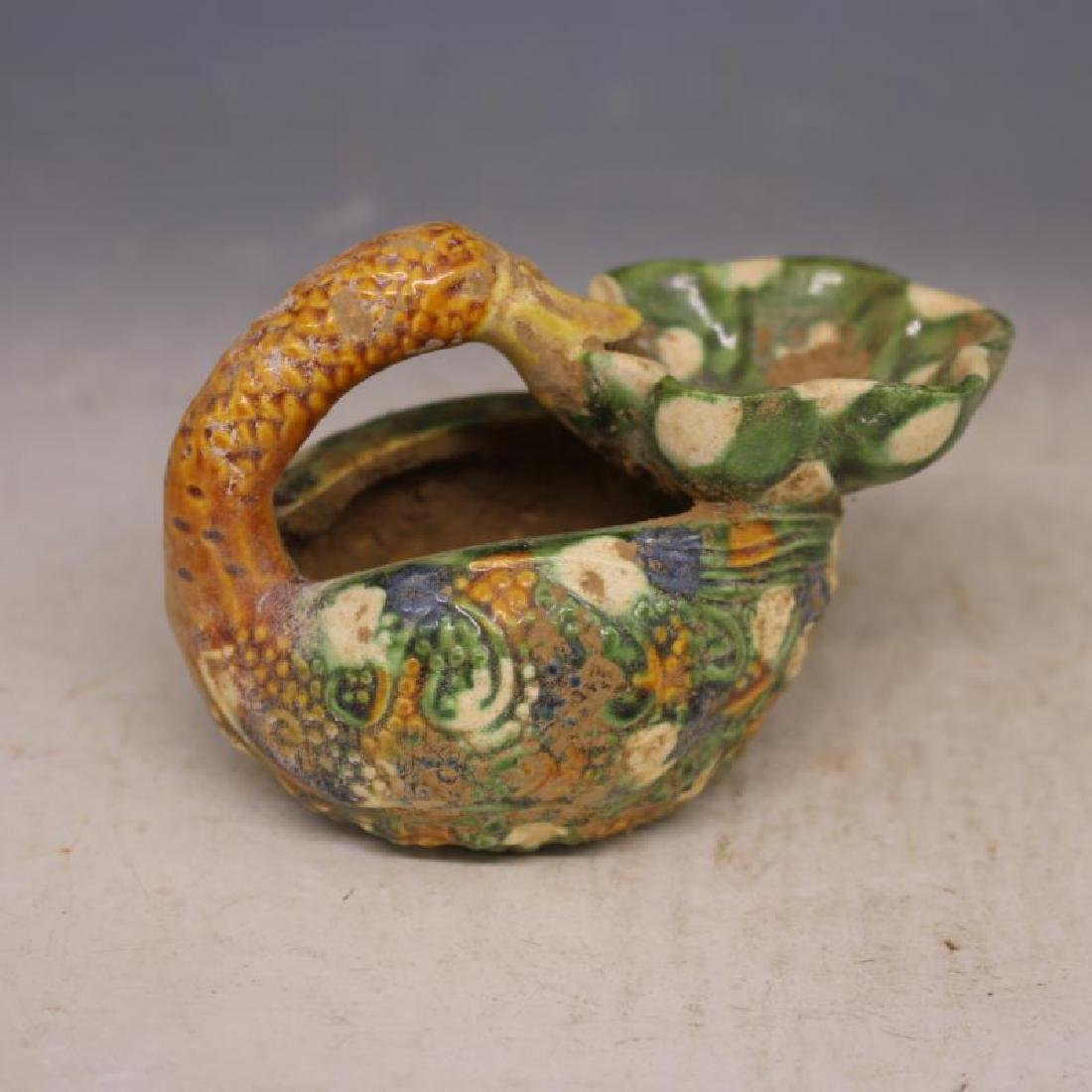 Chinese Tang Dynasty Sancai Porcelain Duck-Shaped Oil