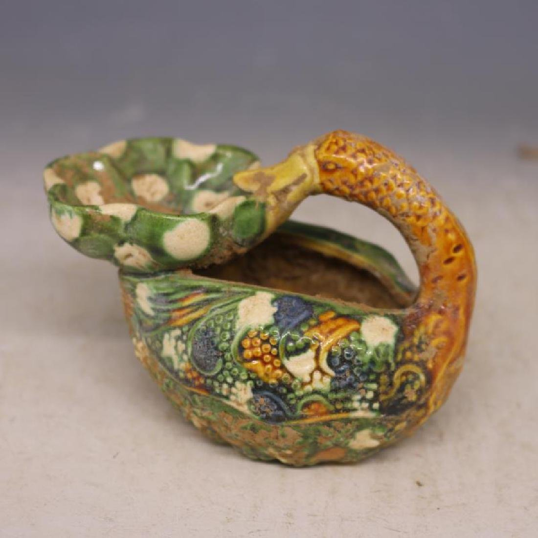 Chinese Tang Dynasty Sancai Porcelain Duck-Shaped Oil - 2