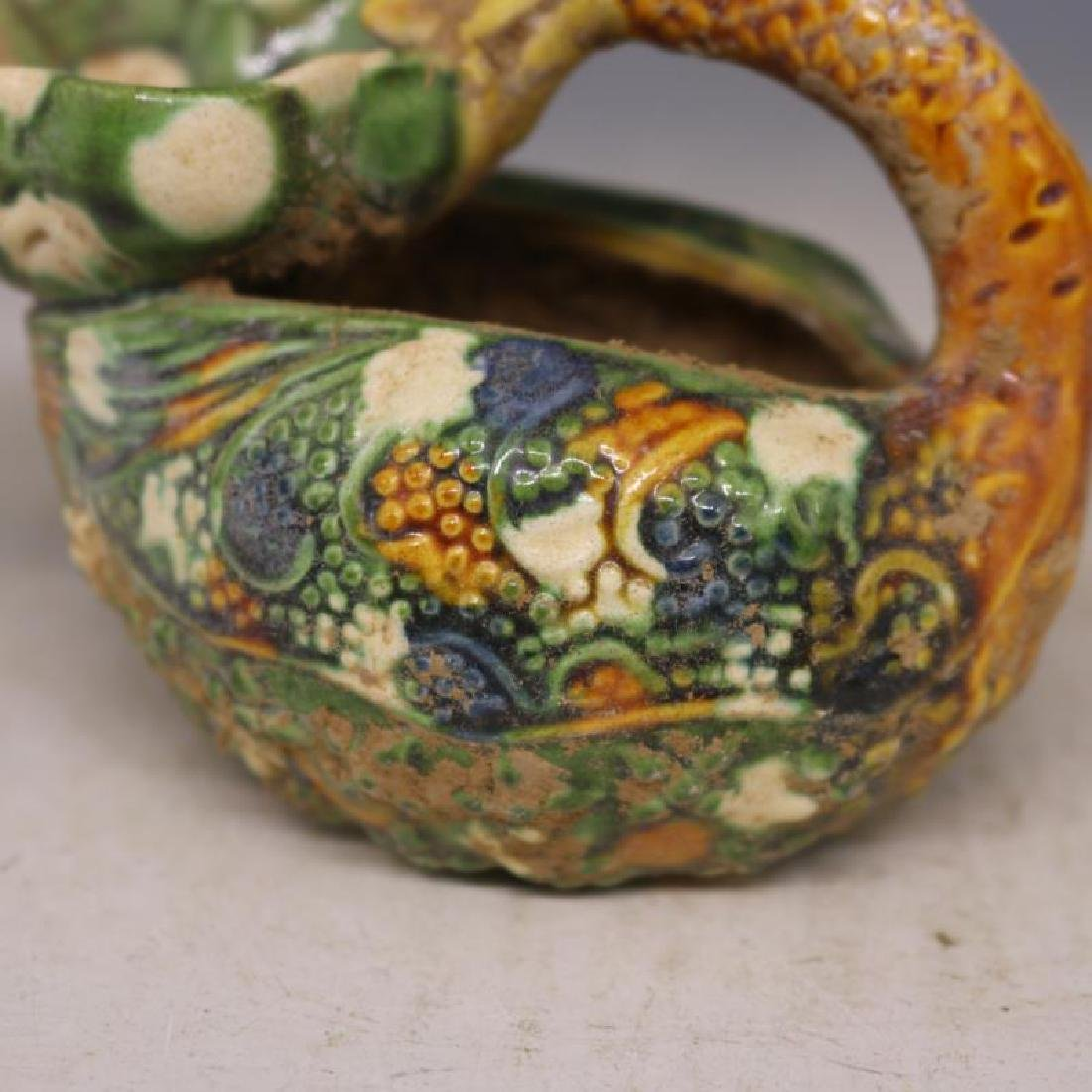 Chinese Tang Dynasty Sancai Porcelain Duck-Shaped Oil - 3