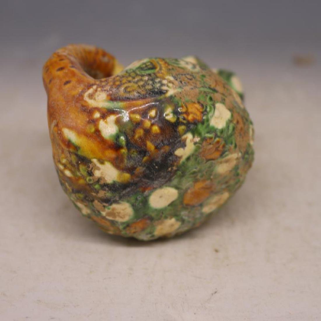 Chinese Tang Dynasty Sancai Porcelain Duck-Shaped Oil - 5