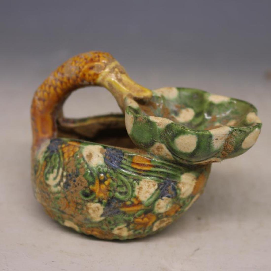 Chinese Tang Dynasty Sancai Porcelain Duck-Shaped Oil - 6