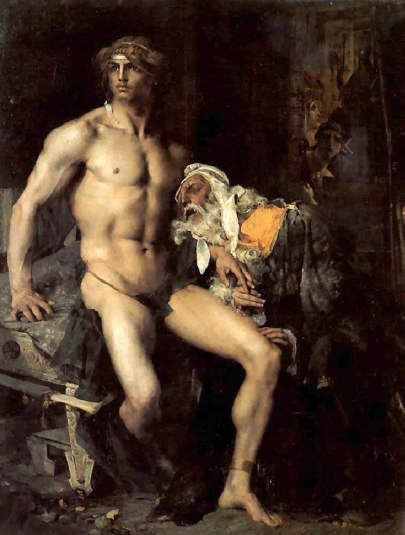 Oil painting Jules Bastien-Lepage French - Achilles and