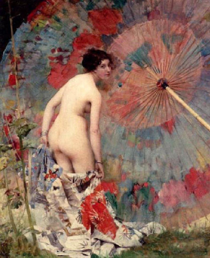 Oil painting female portrait Nude With A Japanese