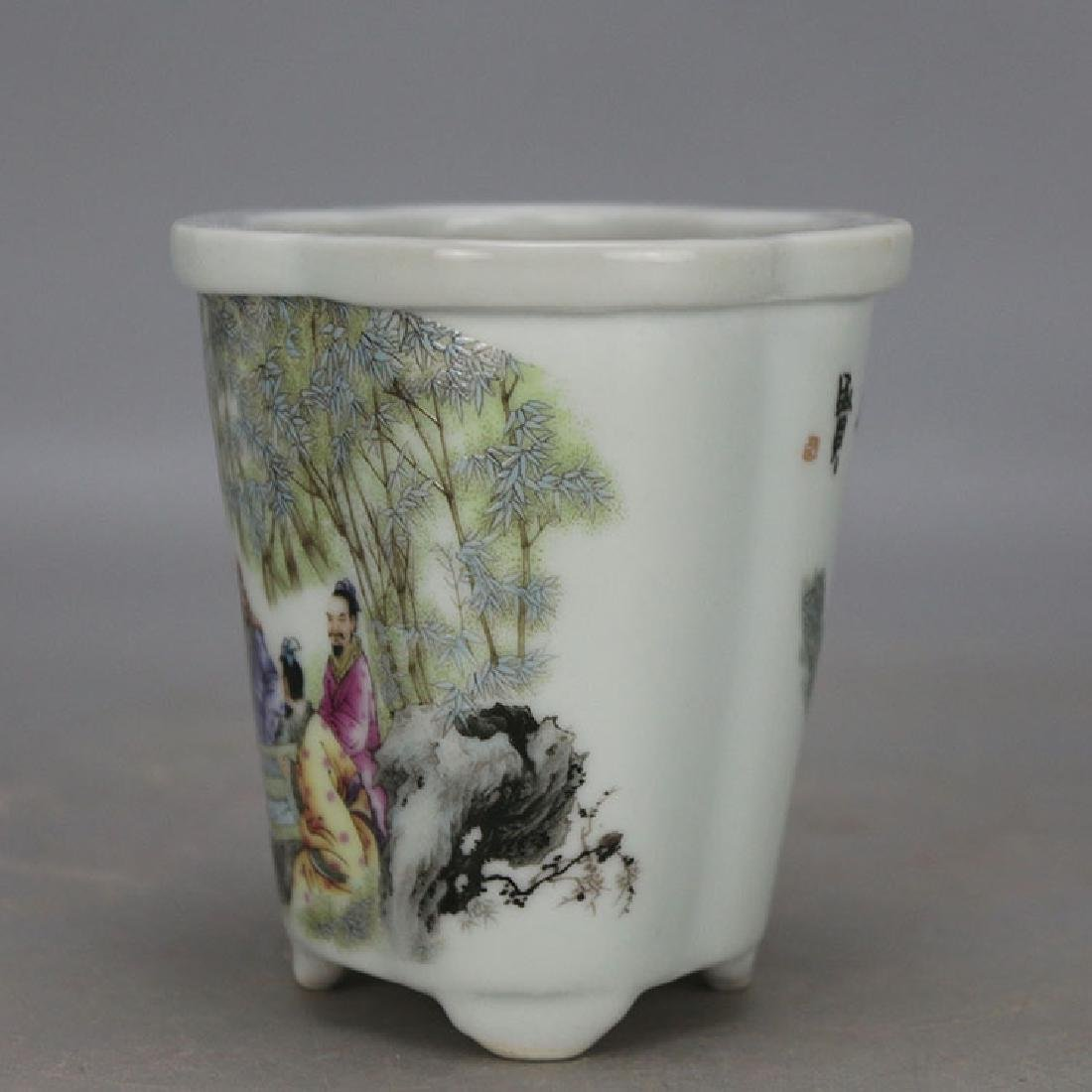Chinese Antique Famille-Rose Porcelain Flower Pot - 3