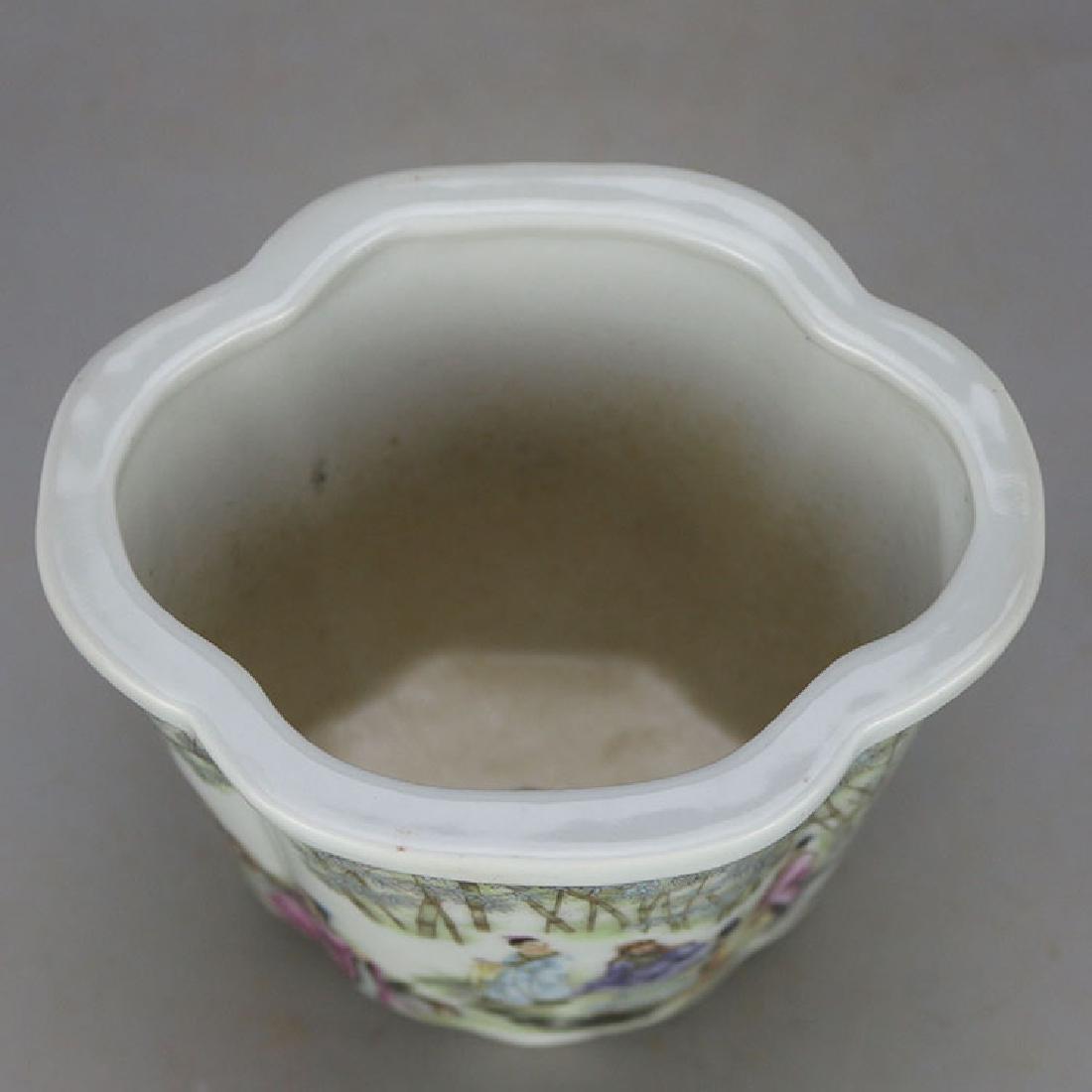 Chinese Antique Famille-Rose Porcelain Flower Pot - 5